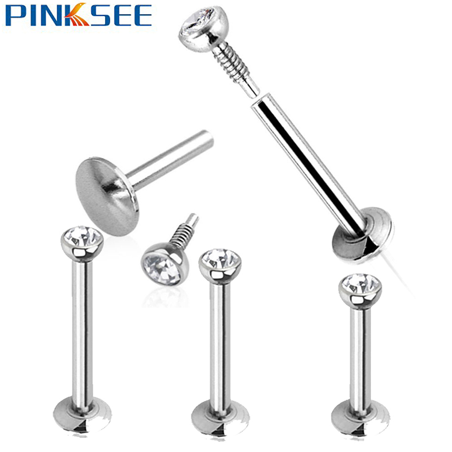 """1 Stainless Steel 18g 1//4/"""" Labret Lip Monroe Tragus Ring Wholesale 3mm Spike"""