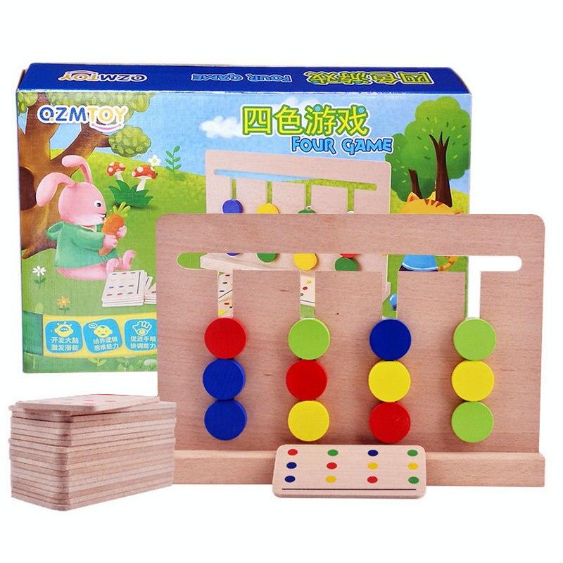 Enfants En Bois quatre jeux/Correspondant à Quatre Couleur Jeux Montessori illumination de puzzle enfants jouets de la petite enfance enseignement logique
