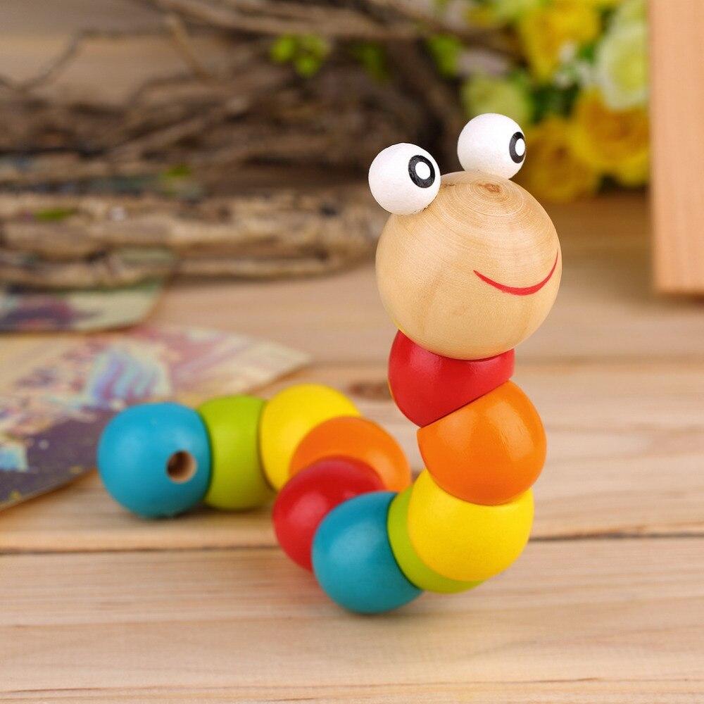 Hot 3pcs Wooden Twisty Wiggly Worm Multicolour Sensory Kids Children Boys Girls Colorful Wooden Worm Sensory