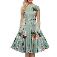 2016 Women Summer Plus Size Sleeveless Retro Vintage Hepburn Floral Print High Waist Tunic Swing Dresses Vestido Femininas Green