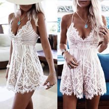 Summer Womens Playsuits White Sexy Lace Strap V Neck Sleeveless Short Jumpsuit Rompers Beach Overalls for