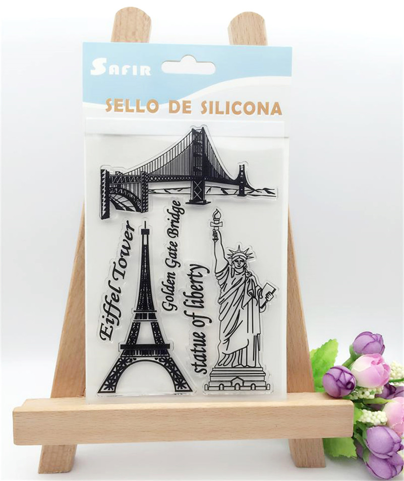 Scrapbook DIY for photo cards Statue of Liberty and Eiffel tower clear stamp transparent stamp for Christmas gift CL-260 lovely animals and ballon design transparent clear silicone stamp for diy scrapbooking photo album clear stamp cl 278