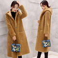 Autumn and winter women's loose long style light tan parkas warm outerwear coat woolen lambs solid color  hooded jacket MZ1139