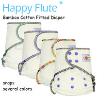 Happy Flute Onesize Bamboo Cotton Fitted Diaper Natural AIO Hemp Diaper Fit Babies From 5 15kgs