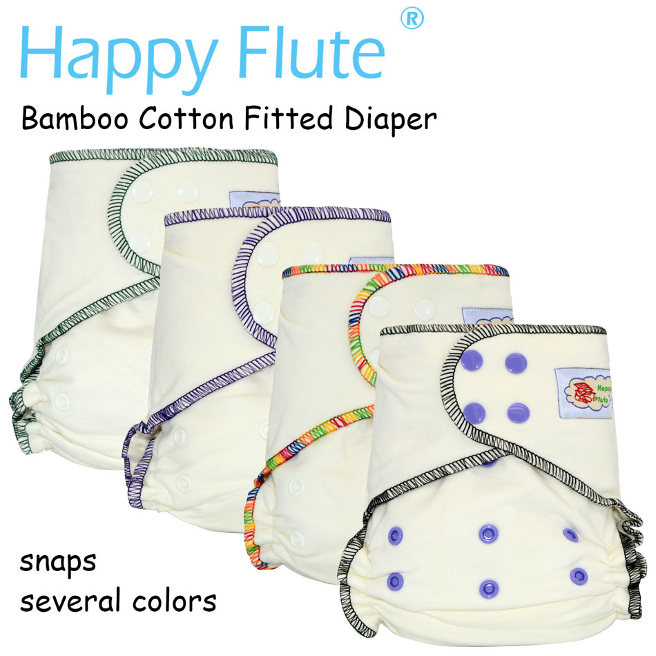 HappyFlute Onesize bamboo cotton fitted diaper natural AIO hemp diaper fit babies from 5 15kgs needs