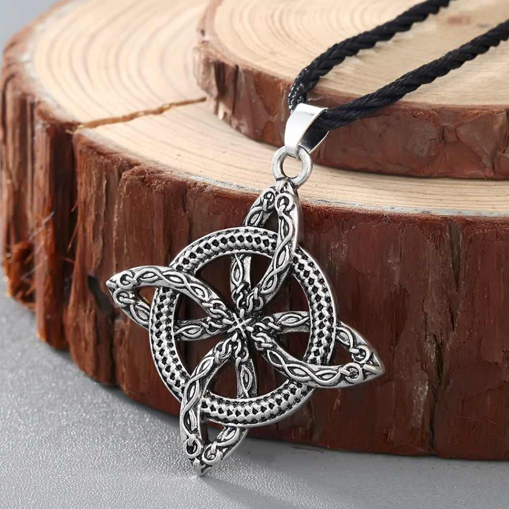 CHENGXUN Men Viking Overcoming Grass Slavic Amulet Fern Flower Protect Against Illnesses Necklace Love Knot Amulet Jewelry