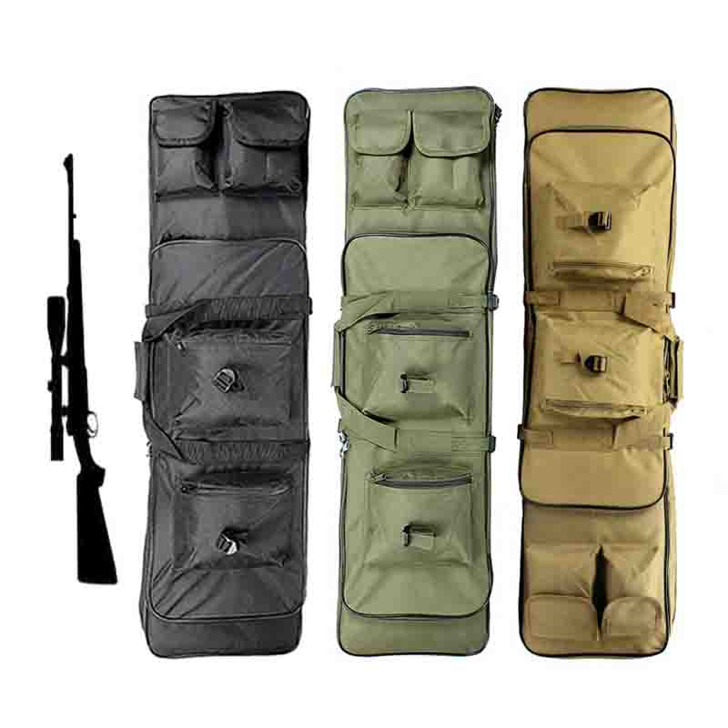 цена на 100CM Tactical Dual Rifle Case Gun Bag with Padding Shoulder Strap Airsoft Hunting Paintball Gun Backpack
