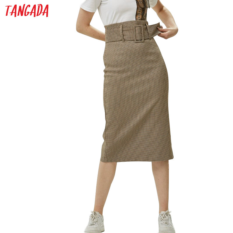 Tangada Fashion Women Plaid Skirt Vintage Work Office Ladies Skirt With Belt Mujer Retro Mid Calf Skirts BE175