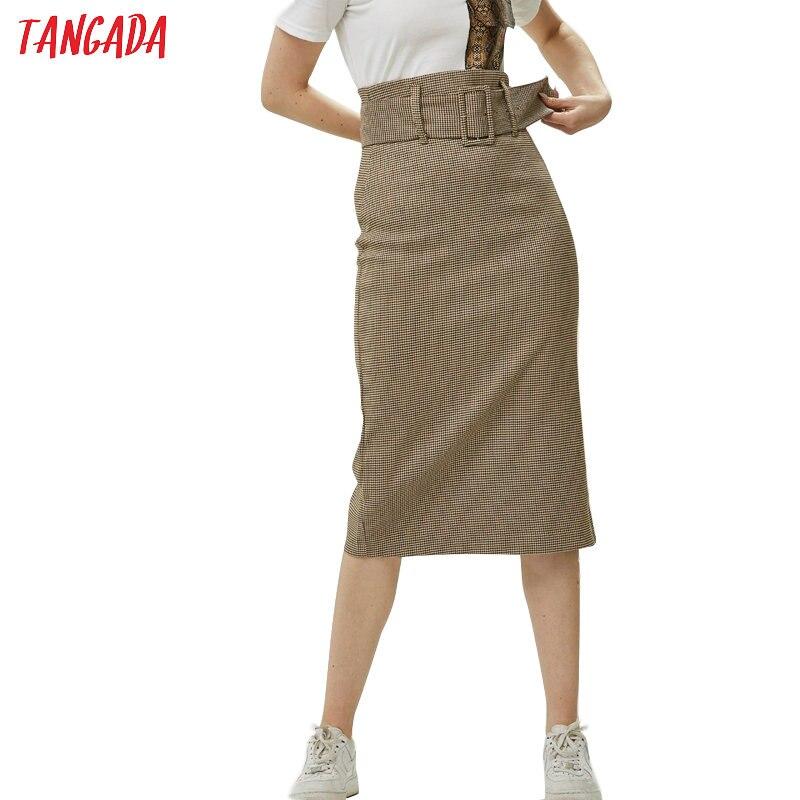 Tangada fashion women plaid skirt vintage work office ladies skirt with belt mujer retro mid calf skirts BE175