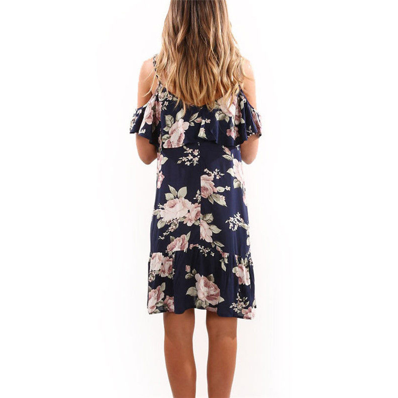 2019 Boho Pleated Ruffles Slip Short Butterfly Sleeve Off Shoulder Dress