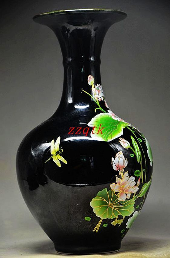 Black & Elegance Porcelain China Old Hand Painting Lotus Vase,Beautiful