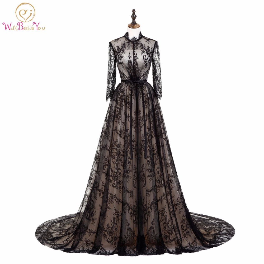 Walk Beside You Elegant Black Champagne Evening Dresses Lace Muslim Long Sleeves High Neck Prom Gowns