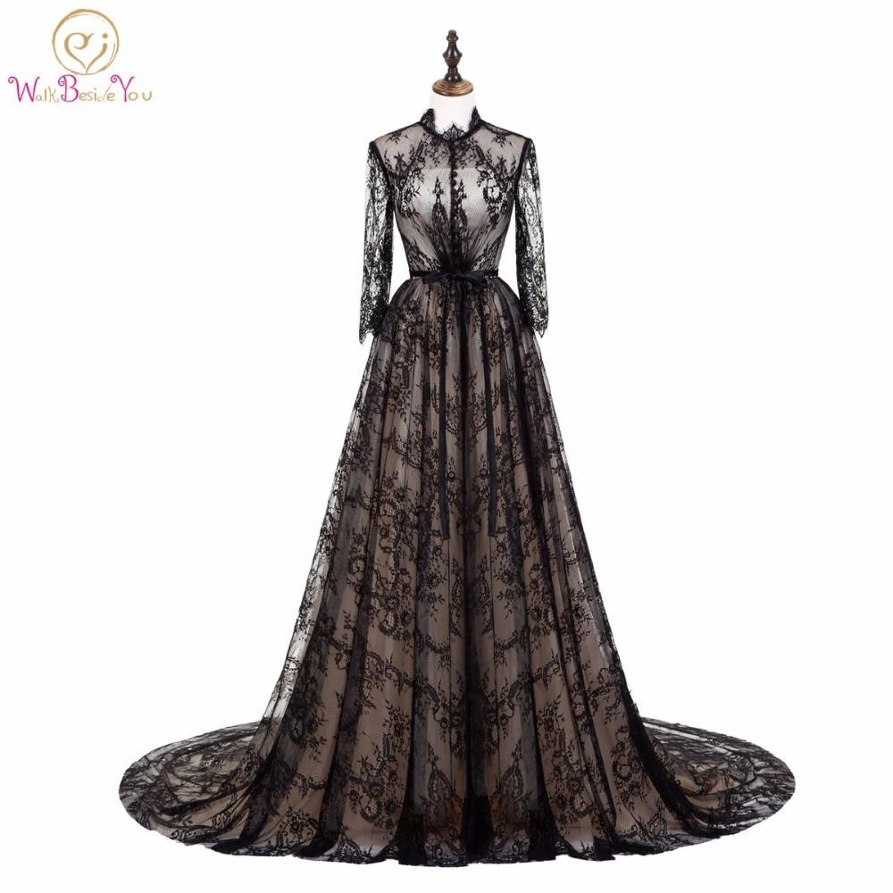 Walk Beside You Elegant Black Champagne Evening Dresses Lace Muslim ...
