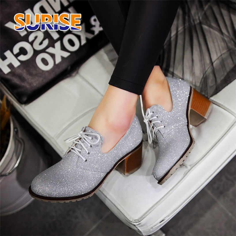 British Lace Up Women Pumps Glitter Sequined Cloth Round Toe Derbies 6cm High Block Heel Brogues Casual Bling Oxfords Lady Shoes