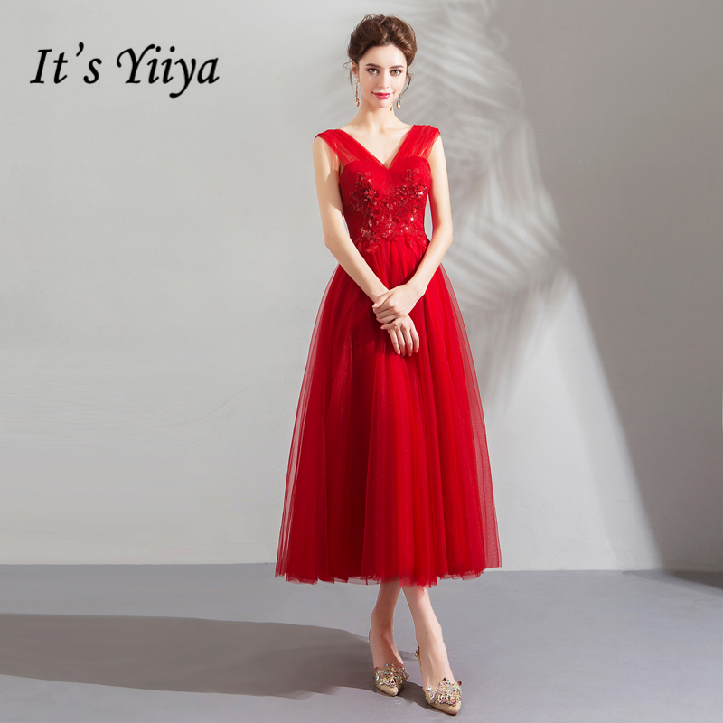 It's YiiYa   Prom   Gowns Red V-neck Appliques Sleeveless Tea-length A-length Tulle Custom Plus size 2019 Short   Prom     Dresses   E212