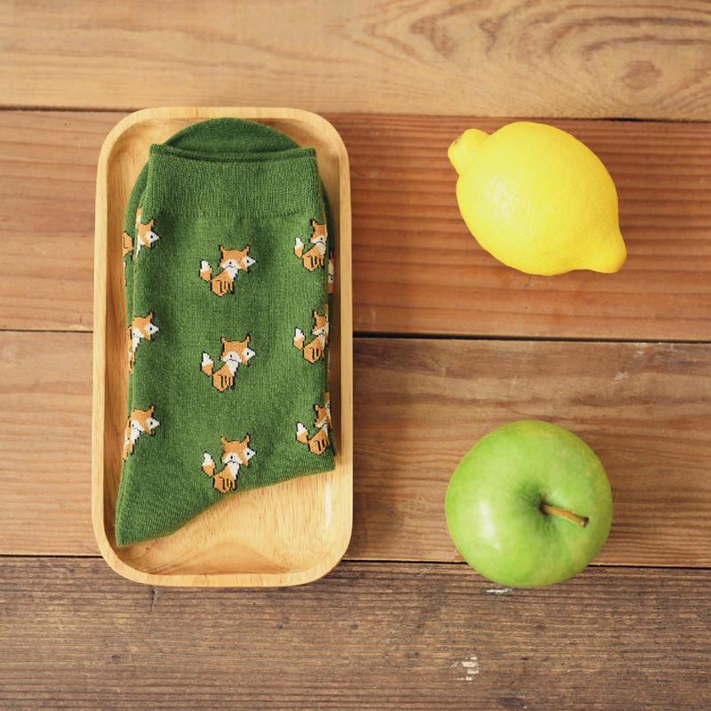 New Fashion Cotton Fox Cartoon Socks Cotton Material Kawaii Ms. Couple Leisure Retro Harajuku Fun Green Socks