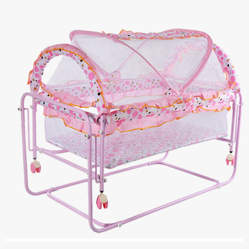 Newborn Baby Cradle Bed Game Bed Foldable Wheeled Mosquito Net Crib Baby Nest  Portable Crib Universal Wheel1-24M