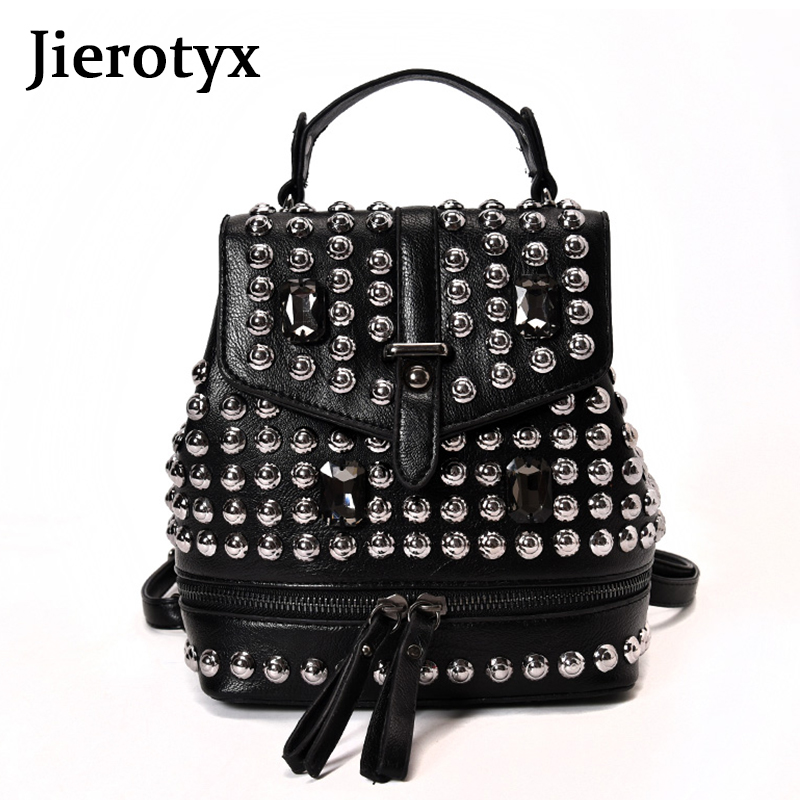 JIEROTYX Sexy Diamond Leather Backpack For Women 2019 Rivet Black Gothic Bag Female Traveling Bag For Party Drop Shipping
