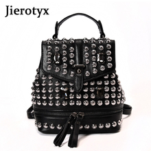 JIEROTYX Sexy Diamond Leather Backpack For Women 2019 Rivet Black Gothic Bag Female Traveling Party Drop Shipping