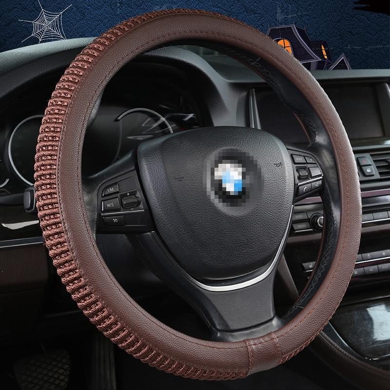 DERMAY 38cm Auto Steering-Wheel Black Universal Car Steering Wheel Cover Leather Steering Covers Car Interior Accessories