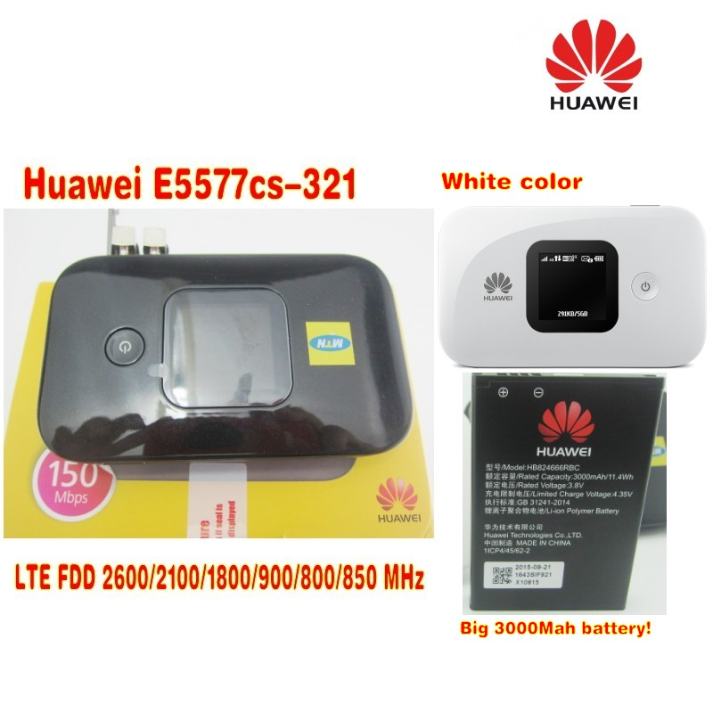 Lot of 2pcs for black and white color huawe E5577cs-321 4G mobile wifi router plus with 2pcs 4g antenna 2pcs 100