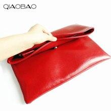 QIAO BAO 100% Natürliche Rindsleder Tasche Aus Echtem Leder damen Handtasche Weiblich Rindsleder Umschlag Taschen Designer Taschen kostenloser versand