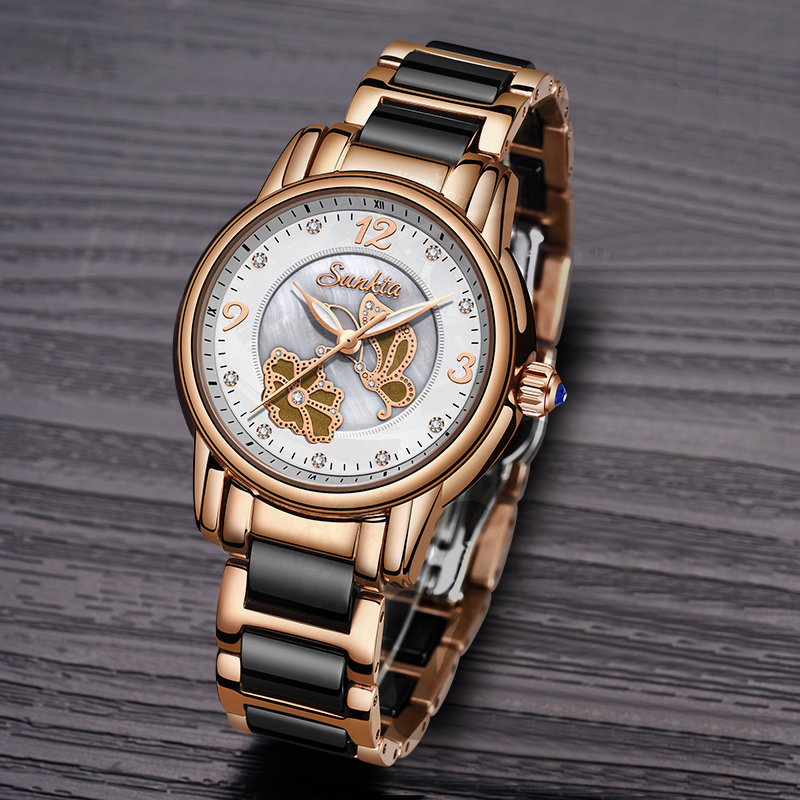 Image 2 - Quartz Watches Women Fashion Waterproof Watch 2019 Top Brand Luxury Ladys Ceramics Stainless Steel Women Watch Relogio Feminino-in Women's Watches from Watches