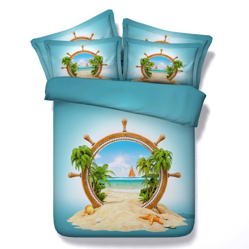 Conception bateau voile shell linge de lit 3d housse de couette filles reine twin ensembles de literie 3/4pc roi tailles 500tc couvertures