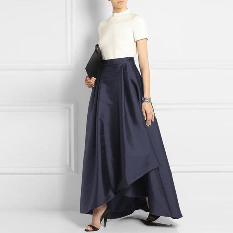 Office Lady Dark Navy Blue Long Satin Skirts For Women 2018 Asymmetrical Fashion Female Adult Skirt