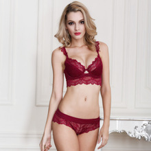 Women's Sexy Ultra-thin Red Lace Transparent Bra Set Plus Size Deep V Brassiere Girl Push Up Bra and Panties Brief Set ABCD Cup