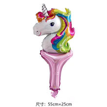 1pcs/lot New Unicorn hand stick Rainbow Hand Holding Sticks Balloon Unicorn Foil Balloons Birthday Party Supplies Kids Toys(China)
