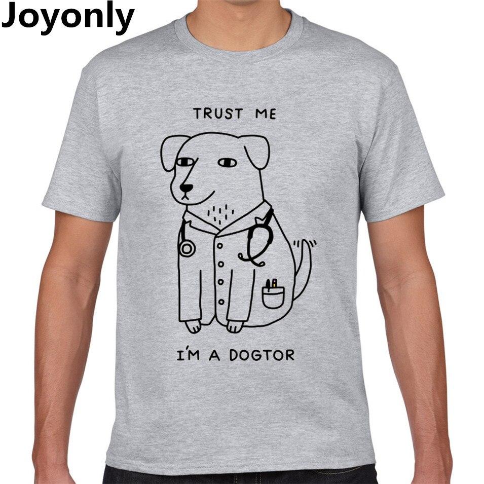 Joyonly Trust Me I'M A DOGTOR Letters Cartoon Dog Doctor Print T-Shirt