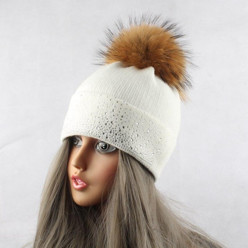 Mink iz rakunastega krznenega klobuka za ženske zimsko volneno - Oblačilni dodatki - Fotografija 6