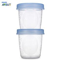 AVENT 5 piezas bebé de almacenamiento de alimentos taza de mama de almacenamiento de leche taza de sello de preservación de jugo de fruta de leche taza de 6 oz /180 ML cajas