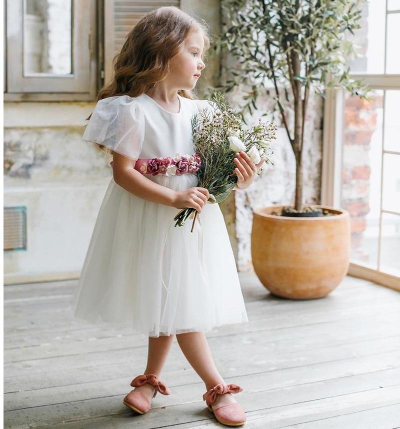 Smileven Tea Length   Flower     Girl     Dress   2019   Flowers   Belt   Girl's   Birthday Party Pageant   Dress   Cute Wedding Party   Girl     Dress