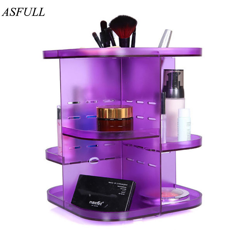 ASFULL Portable storage box of the organizer of acrylic makeup make up Cosmetic Case for Dustproof 360 degree rotation