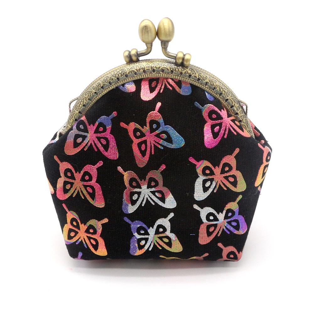 Fashion Women Lady Retro Vintage Butterfly Small Coin Wallet Hasp Canvas Purse Clutch Bag monederos para mujer monedas *00