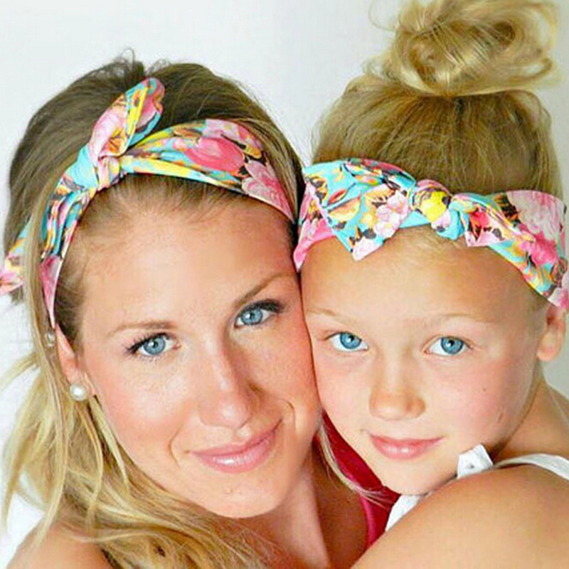 1 Set Mom and Me Boho Turban Headband Fabric Floral Flower Bow Knot Tie Hairband Rabbit Ears Kids and Mommy Elastic Headwear metting joura vintage bohemian green mixed color flower satin cross ethnic fabric elastic turban headband hair accessories