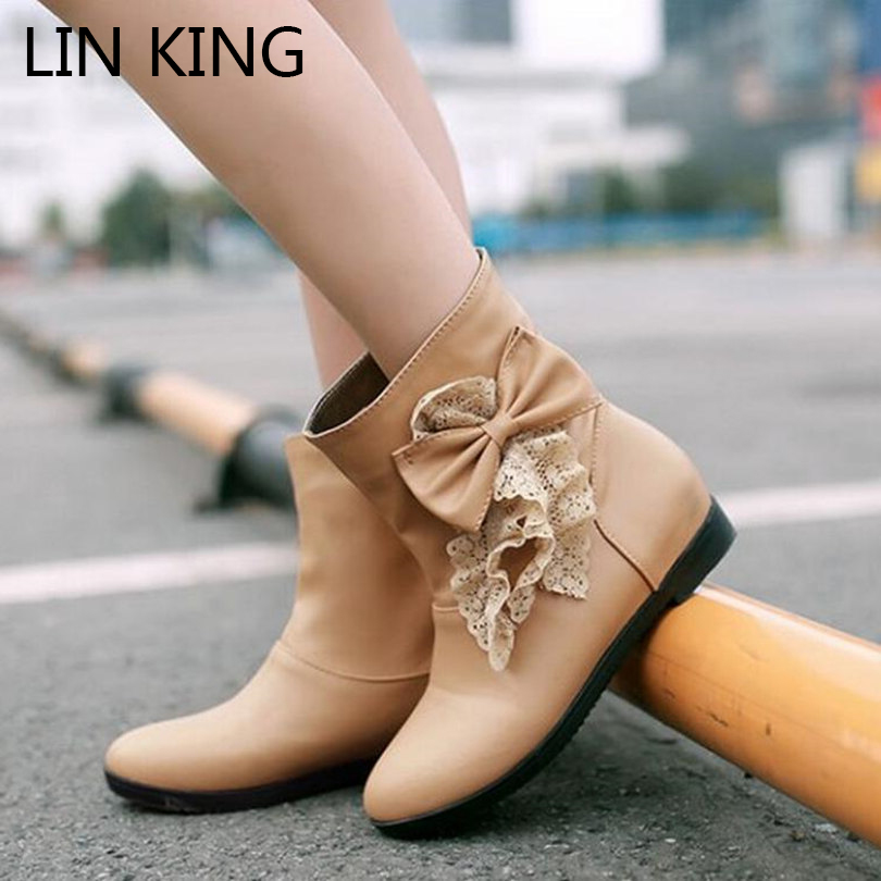 LIN KING New Women Snow Boots Solid PU Slip-on Lace Bowtie Cute Short Boots Warm Winter Round Toe Thick Sole Big Size Boots 2017 new arrival hot sale women boots solid bowtie slip on soft cute women snow boots round toe flat with winter shoes wsz31