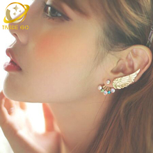 цена angle wing clip on earrings pierced ear cuff manchette women earrings rhinestone cuff earring ear jacket wrap earcuffs brincos