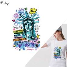 Pulaqi New York Statue of Liberty Iron On Heat Transfers Patches For Clothing Ironing Stickers T-shirt Stripes Clothes F