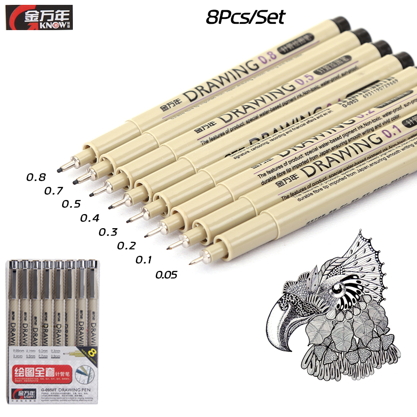 KNOW 8Pcs/Lot Pigma Micron Sketch Marker Pen Black Pigment Liner Neelde Drawing Pen For Drawing Sketching Writing Art Supplies