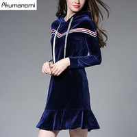 Autumn Pleuche Velvet Dress Hooded Royal Blue Ribbon Panelled Fishtail Hem Women S Clothes Winter Spring