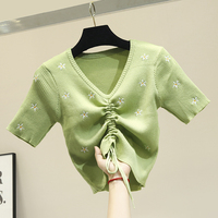 Network Red Ice Silk Knitting Short sleeved T shirt Women Avocado Green Embroidery Flowers Tshirt Women V neck Lace up T Shirts