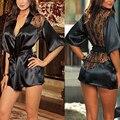 Mulheres Sexy Camisola Pijamas Robe + Cinto + G-string Lace Sólidos