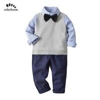 3pcs clothing sets boys shirts + vest + pant 2019 long sleeve children 2 5 year Sweater vest kids gentleman suits clothes set