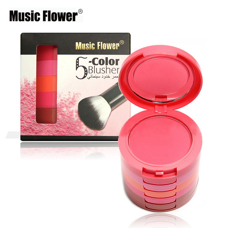 Music Flower Five-story Blush Palette Long-lasting Pigment 5 Colors Blusher Palette Makeup Brand With Mirror & Brush