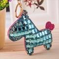 Envío gratis de la borla del caballo llavero de cuero del Rhinestone llaveros 9 colores lindo Animal Rring llaveros porte clef venta al por mayor