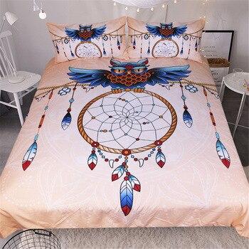 New Blue Owl Feather Bedding Set 3pcs Home Textiles 3D Printed Duvet Cover Bedclothes Queen/ Full -3 pieces