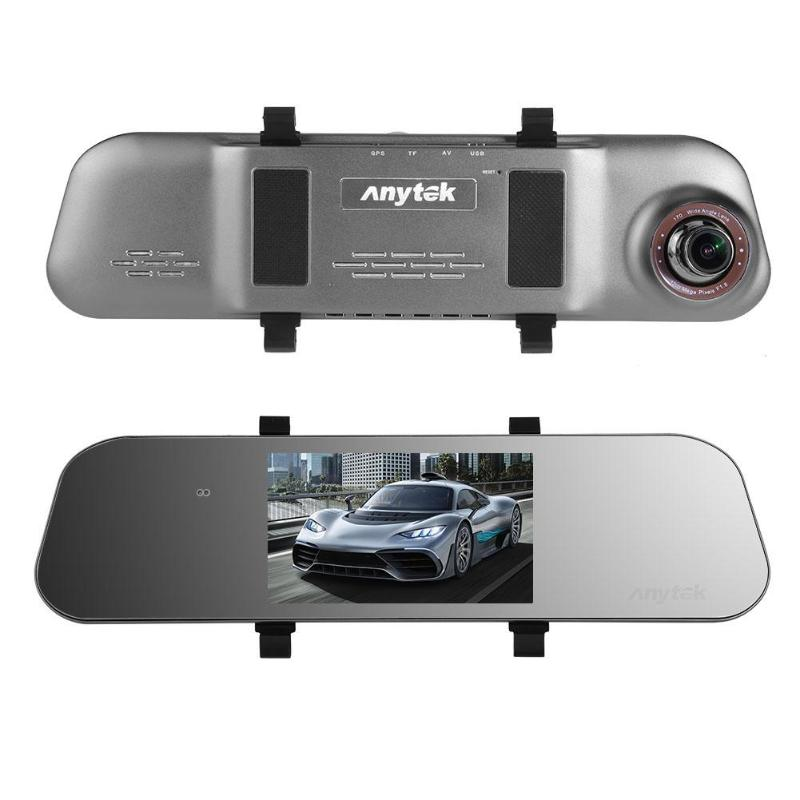 Anytek A80+ 5in IPS Screen Dual Lens 1080P Car Rearview Mirror DVR Camera Video Recorder G-sensor Night Vision Car Dash Camera plusobd car recorder rearview mirror camera hd dvr for bmw x1 e90 e91 e87 e84 car black box 1080p with g sensor loop recording